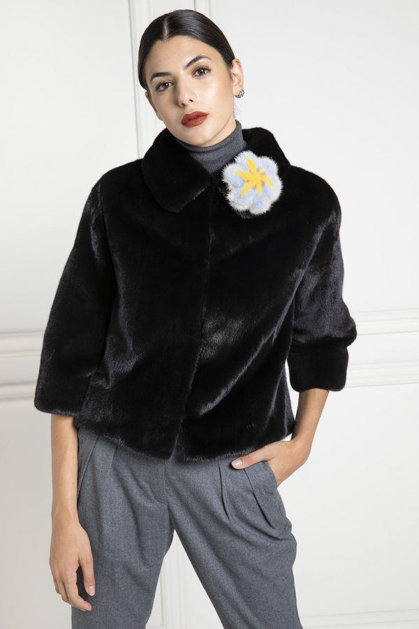Black Mink Jacket with Mink Flower - Length 50 cm