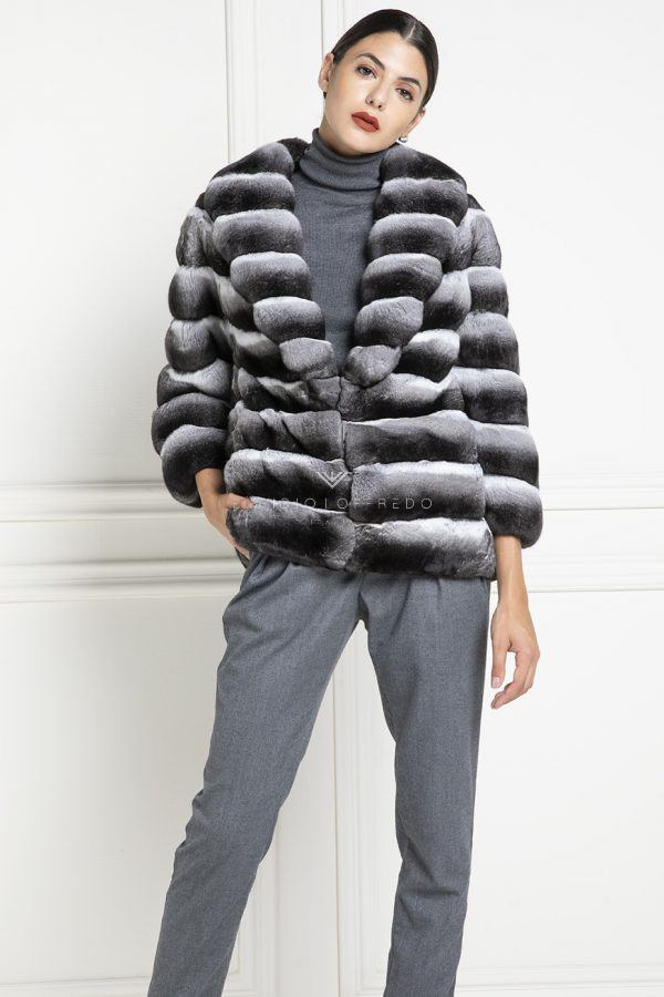 Chinchilla Fur Jacket with Shawl Collar - Length 65 cm