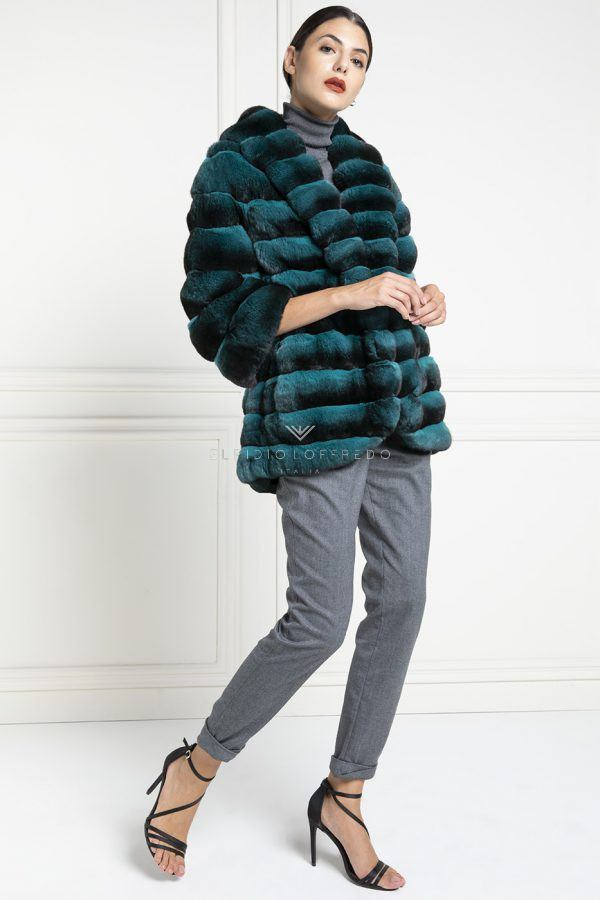 Green Chinchilla Jacket with whole skins - Length 70 cm