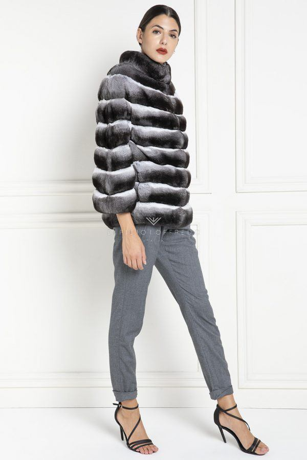 Chinchilla Fur Jacket with Round Collar - Length 65 cm