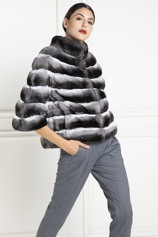 Chinchilla Fur Jacket with Round Collar - Length 60 cm