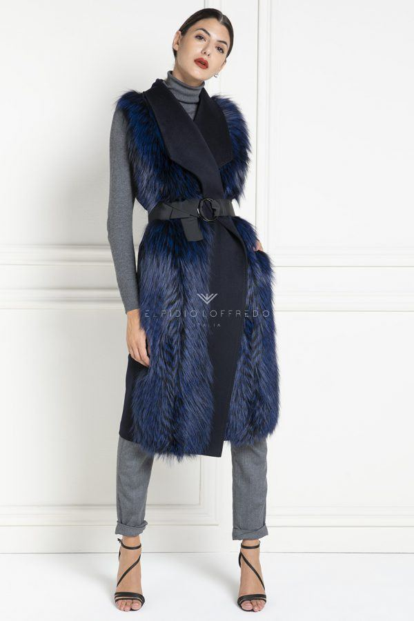 Cashmere Loro Piana Vest with Fox Fur - Length 100 cm