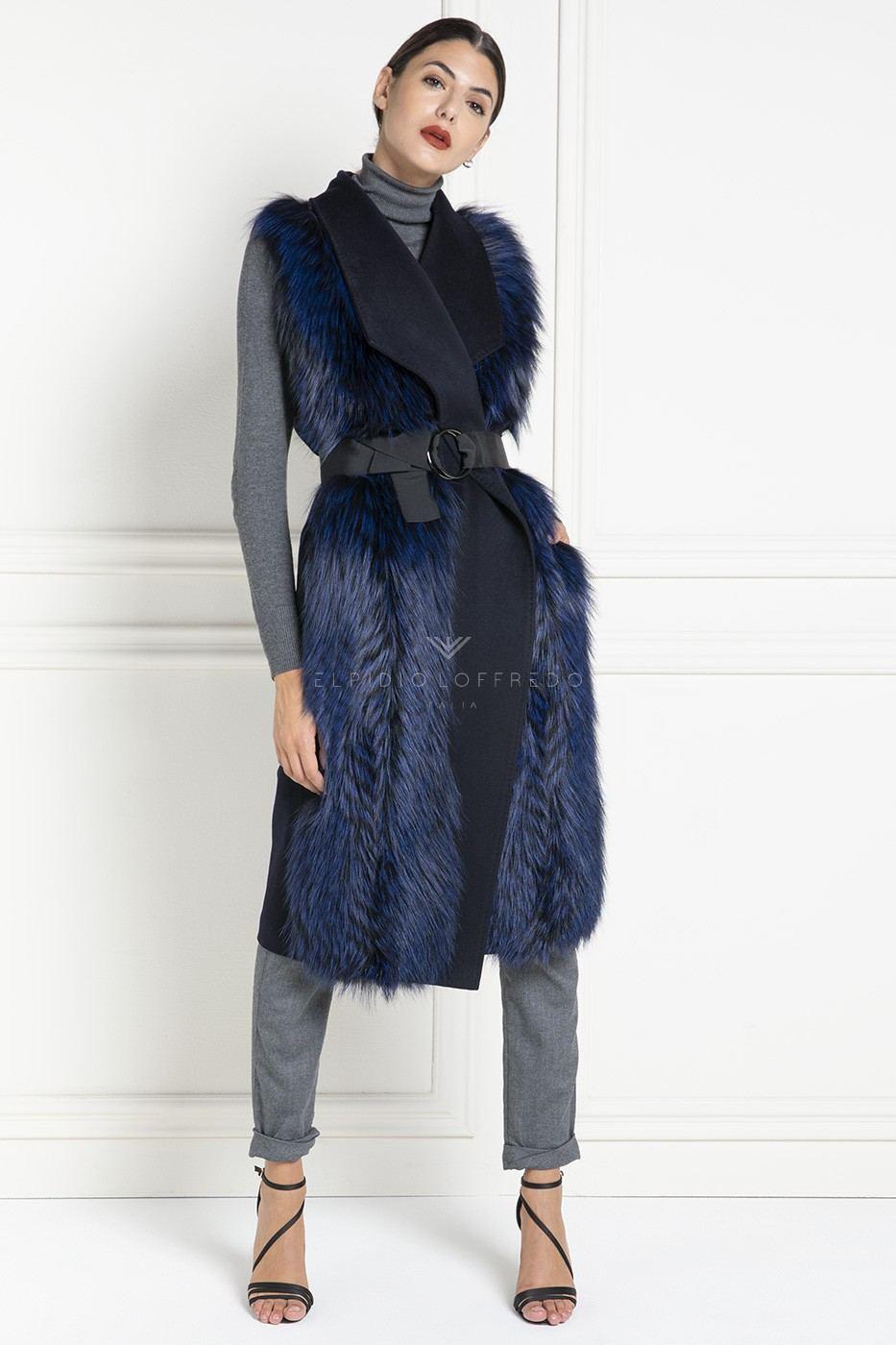 Cashmere Loro Piana Vest with Fox Fur - Length 100 cm