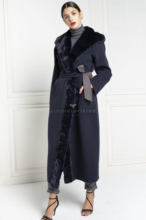 Cashmere Loro Piana with Blue Mink Fur - Length 130 cm