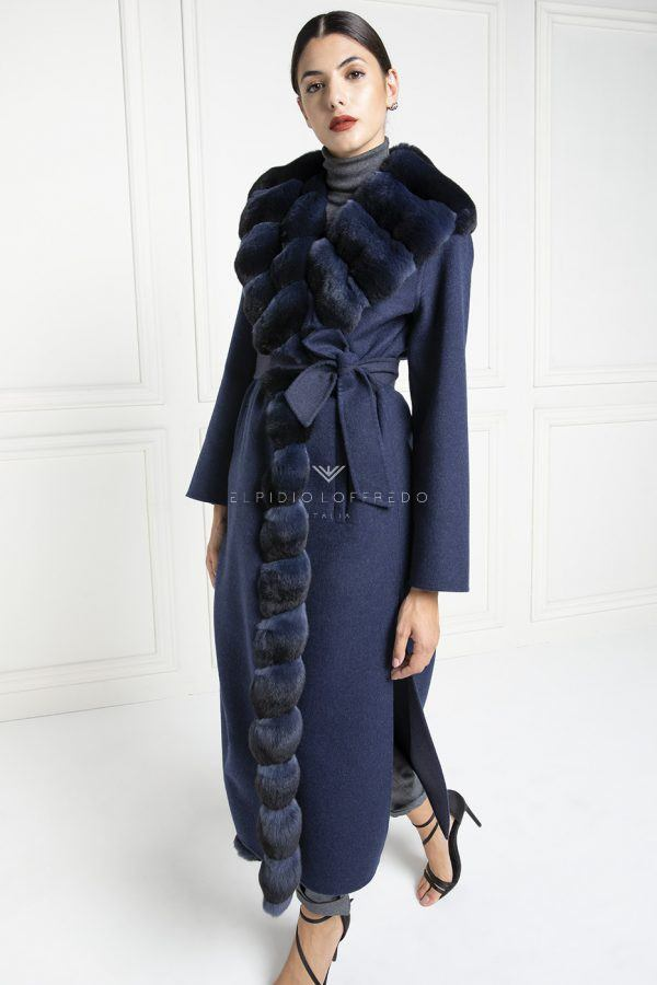 Cashmere Loro Piana con Pelliccia di Cincillà Blue - Lunghezza 130 cm