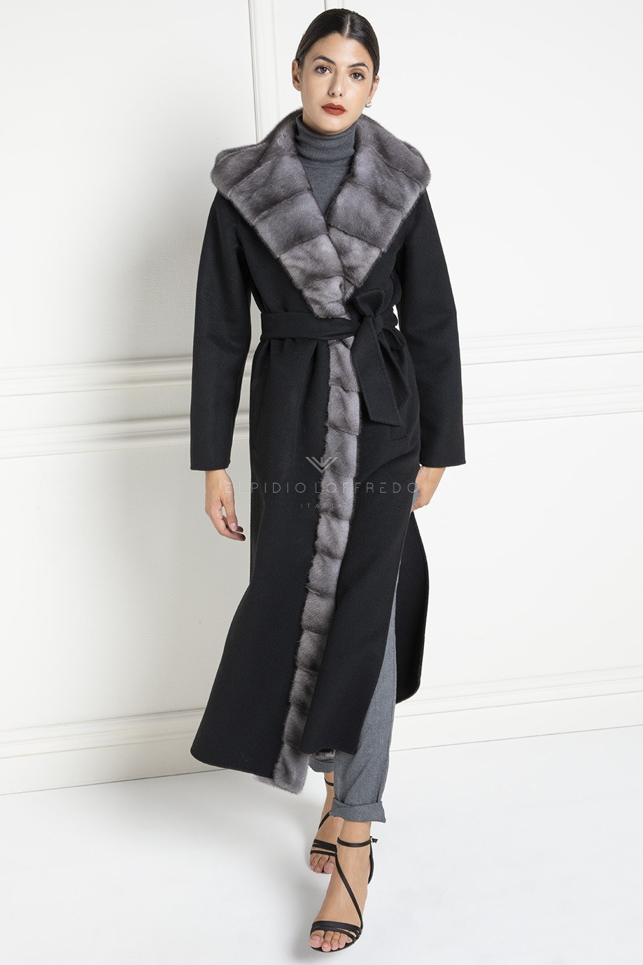 Cashmere Loro Piana Coat with Blue Iris Mink Fur and Hood