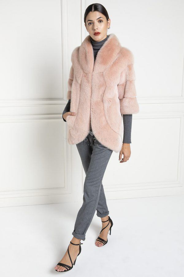 Pink Mink with Shawl Collar - Length 75 cm