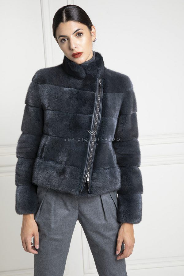 Blue Cross Mink Jacket - Length 65 cm