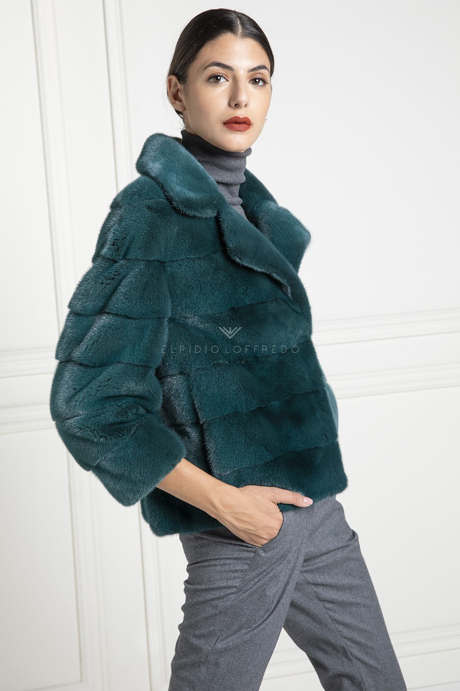 Green Mink Jacket with Rever Collar - Length 60 cm