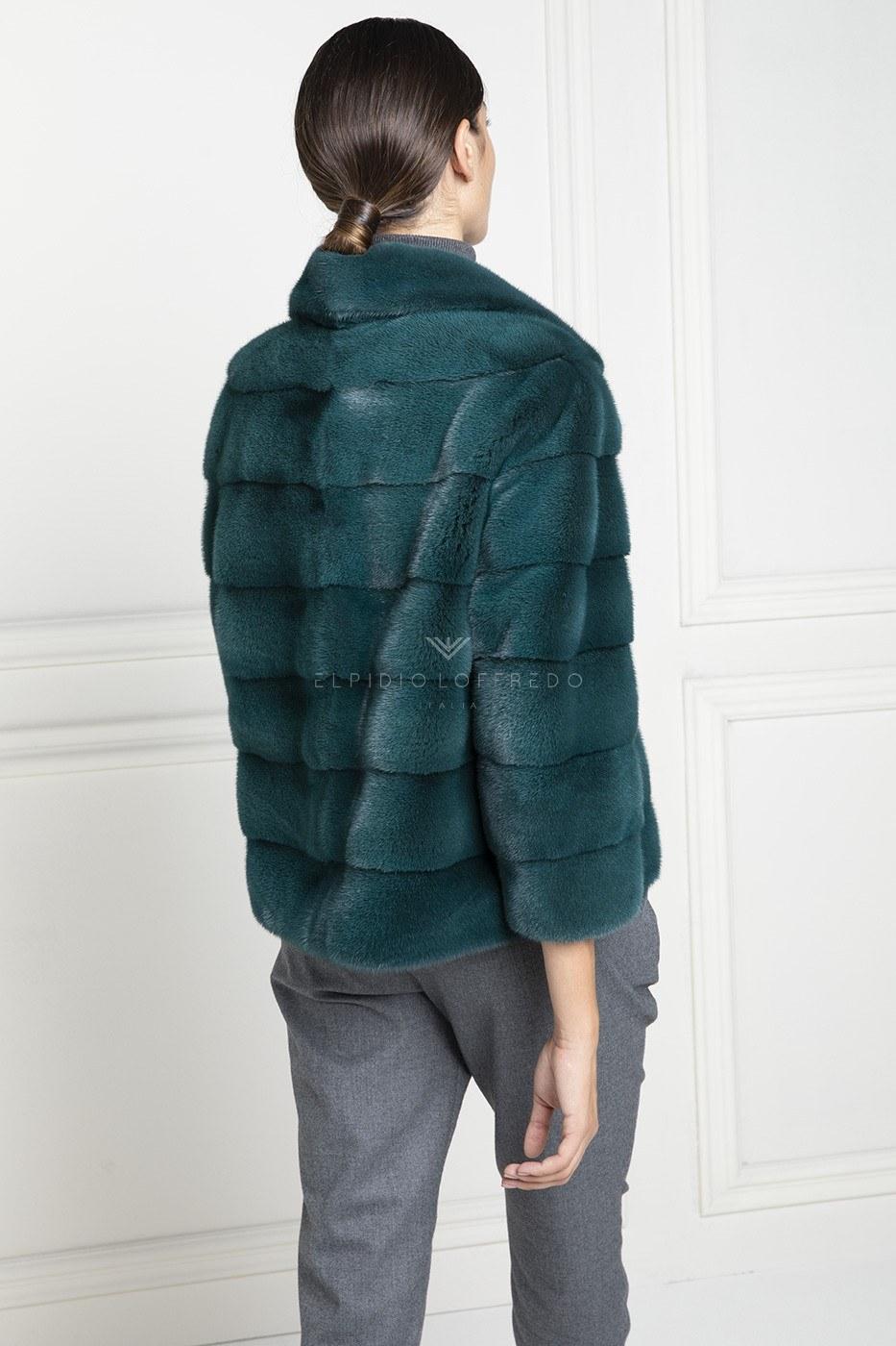 Giacca di Visone Verde con collo rever - Lunghezza 60 cm
