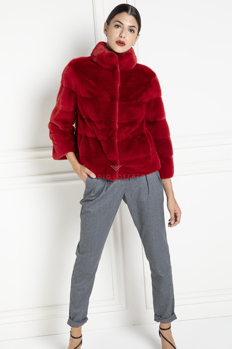Red Mink Jacket with Round Collar - Length 65 cm