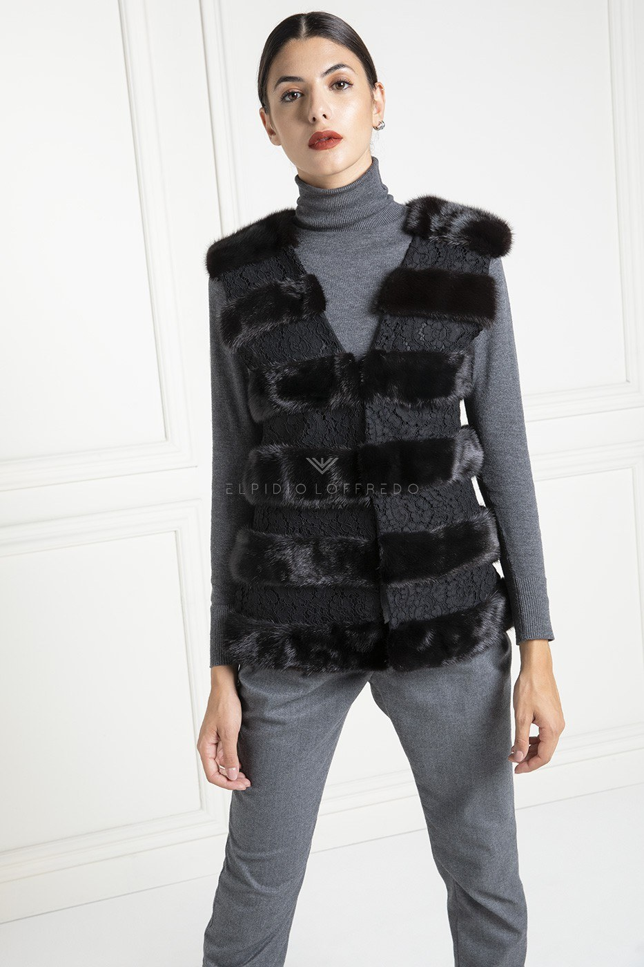 Mink Vest with Lace - Length 65 cm