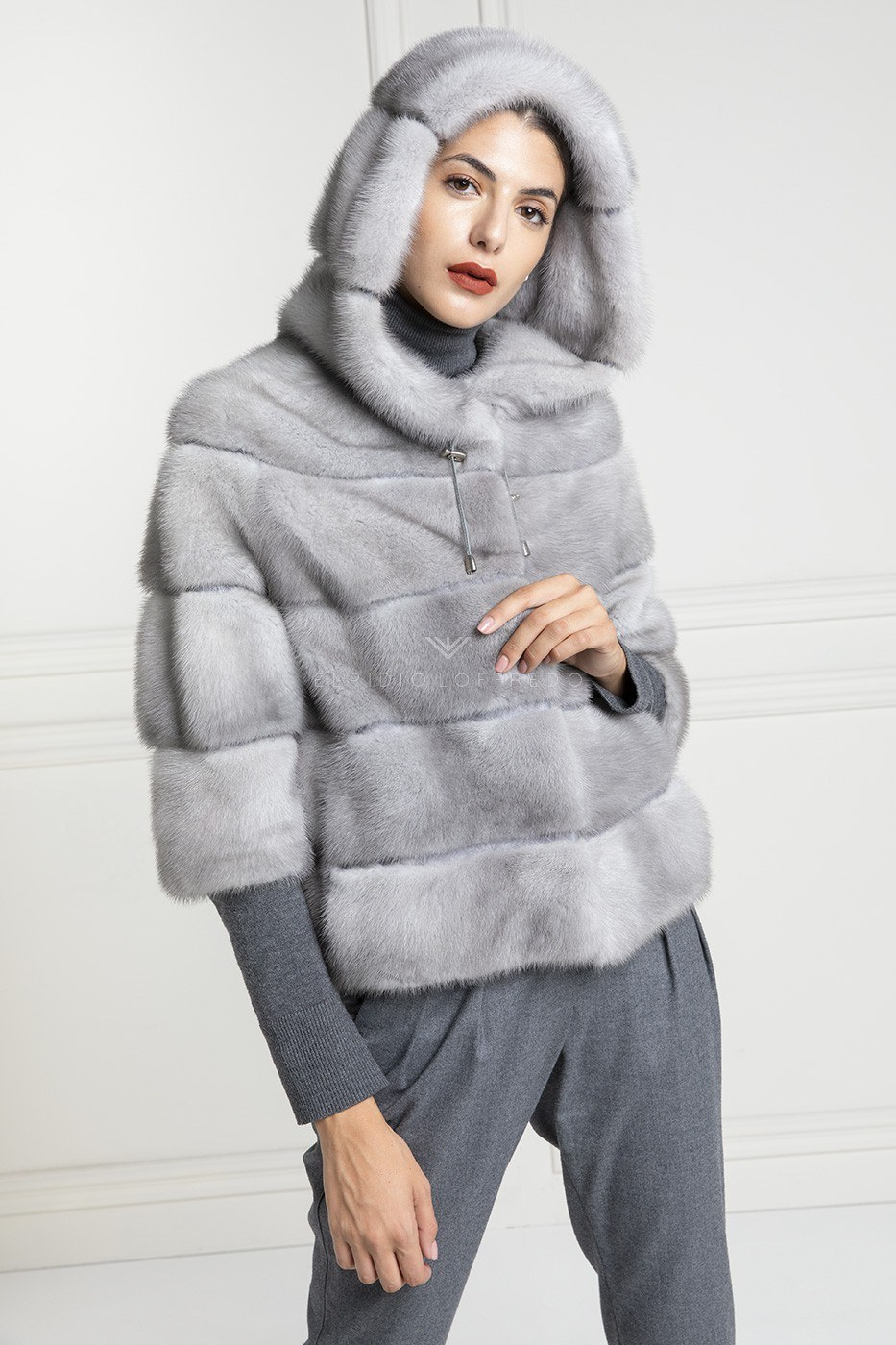 Sapphire Mink Jacket with Hoodie - Length 60 cm