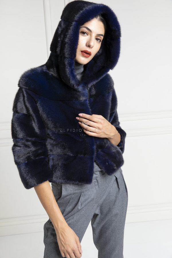 Blue Mink Jacket with Hoodie - Length 50 cm