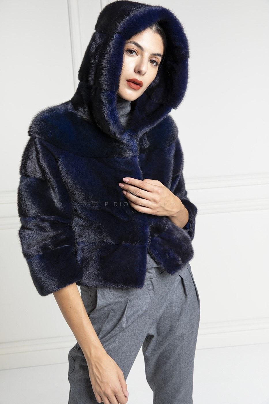 Blue Mink Jacket with Hoodie - Length 50 cm