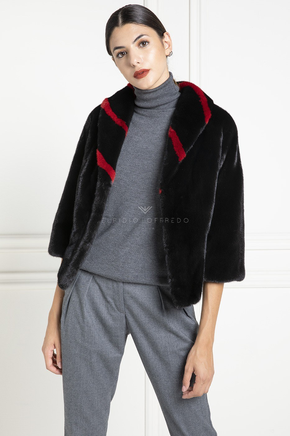 Black and Red Mink Jacket - Length 50 cm