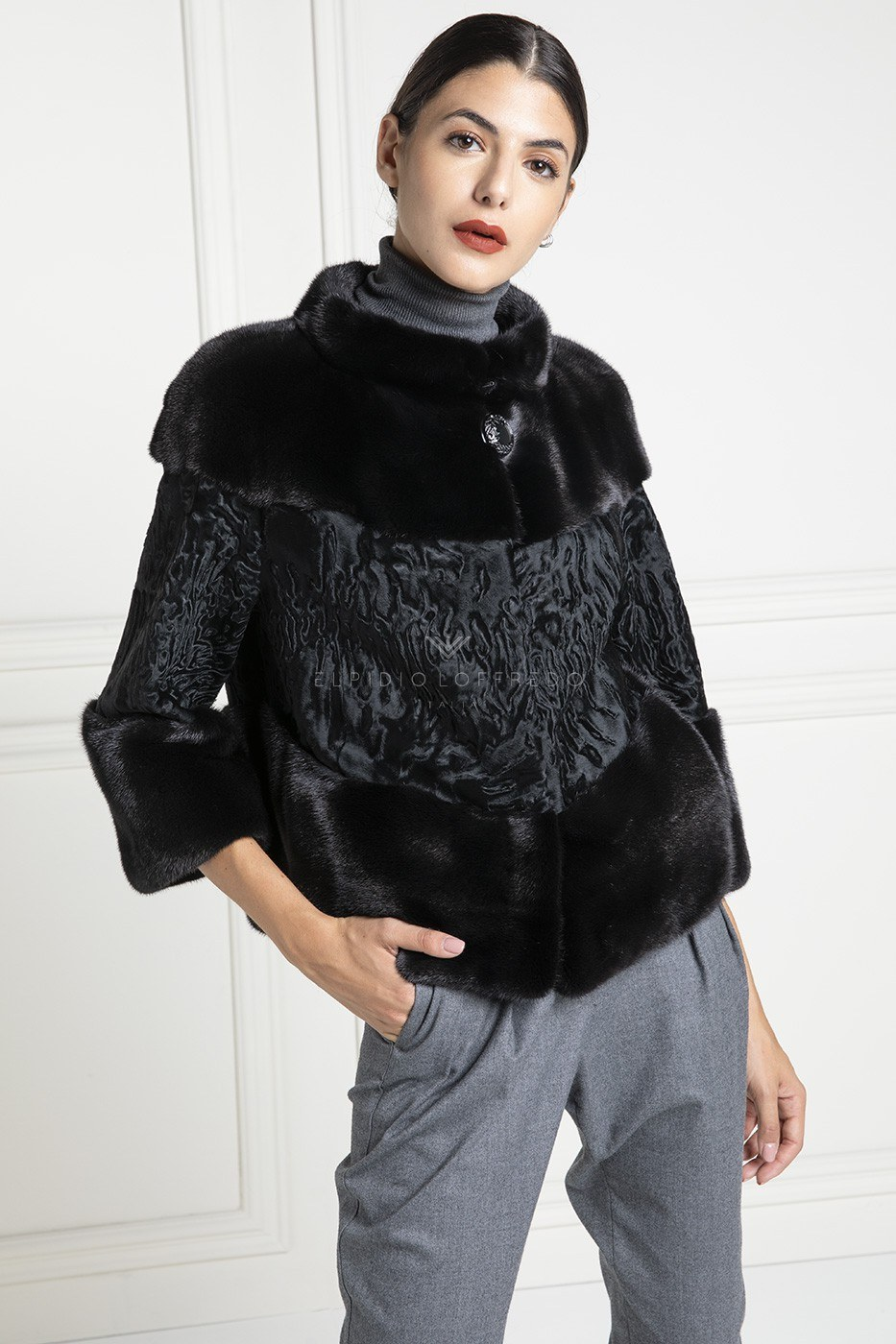 Mink with Swakara Jacket - Length 60 cm