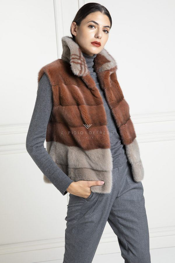 Mink Vest with Round Collar - Length 60 cm