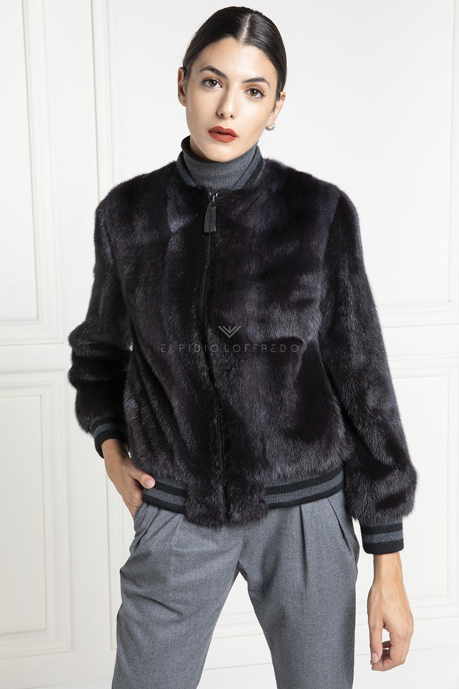 Mink Bomber with Wool - Length 65 cm