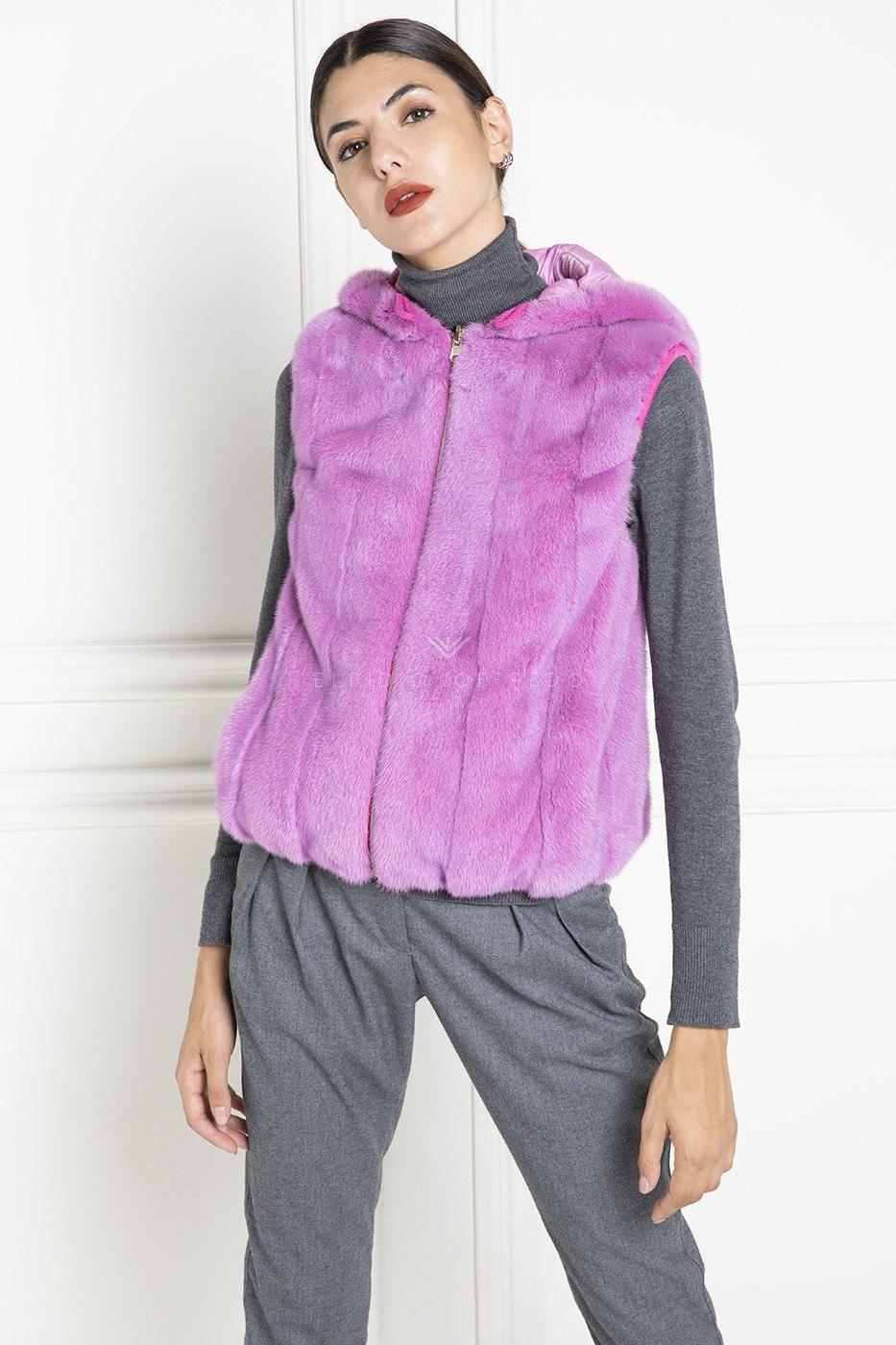 Pink Mink Fur Vest with Hoodie - Length 60 cm