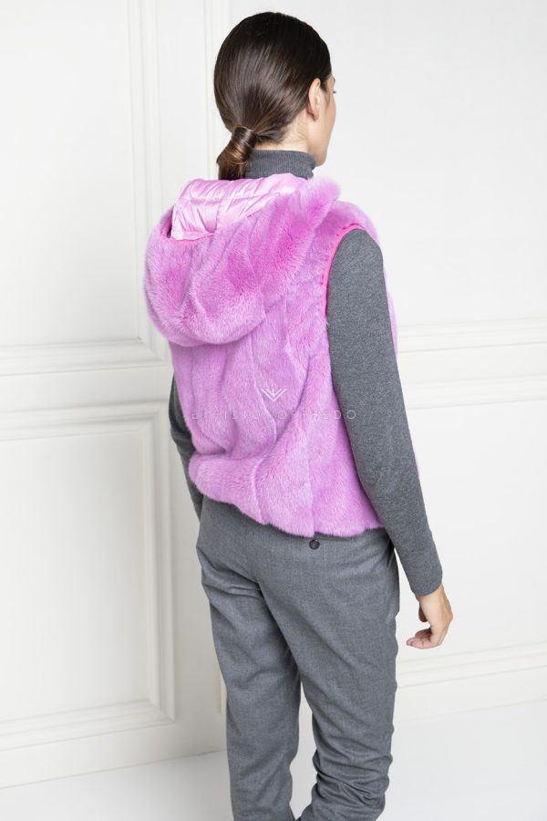 Gilet di Visone Rosa Double Face con Cappuccio - Lunghezza 60 cm