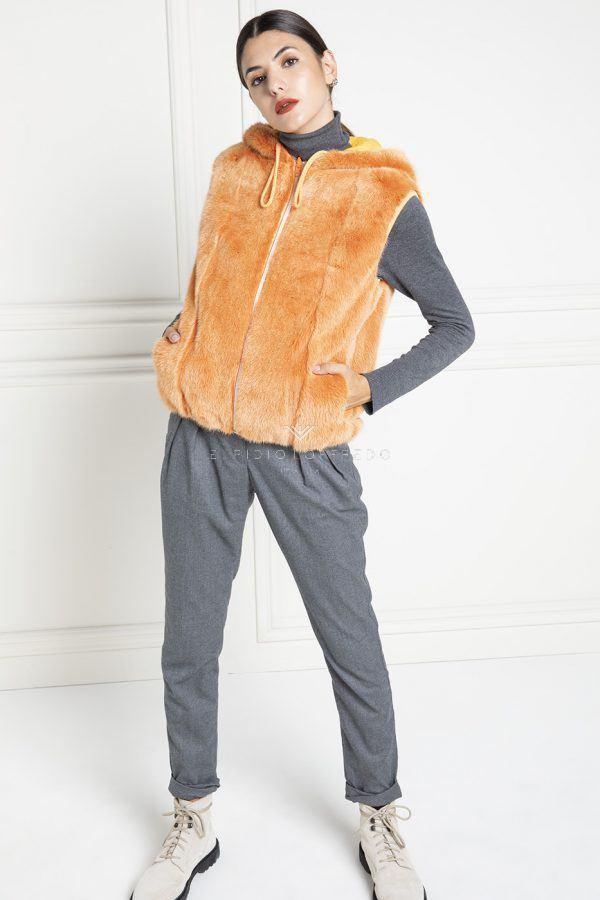 Gilet di Visone Arancio Double Face con Cappuccio - Lunghezza 60 cm