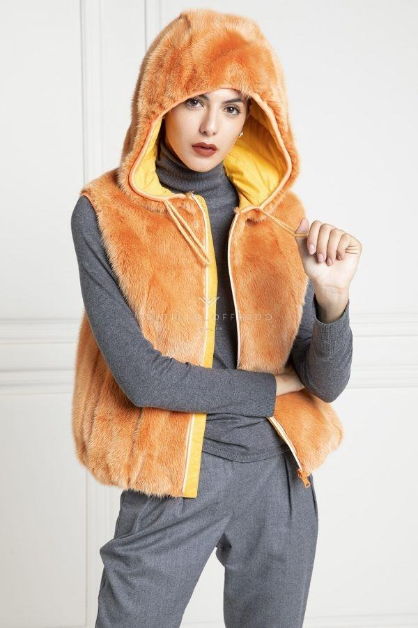 Orange Mink Fur Vest with Hoodie - Length 60 cm