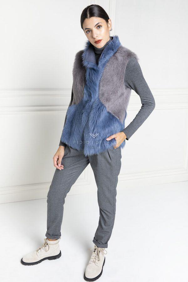 Gilet di Montone con collo sciallato - Lunghezza 80 cm