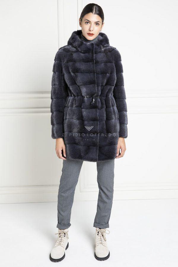 Orange Mink Fur Vest with Hoodie - Length 60 cm