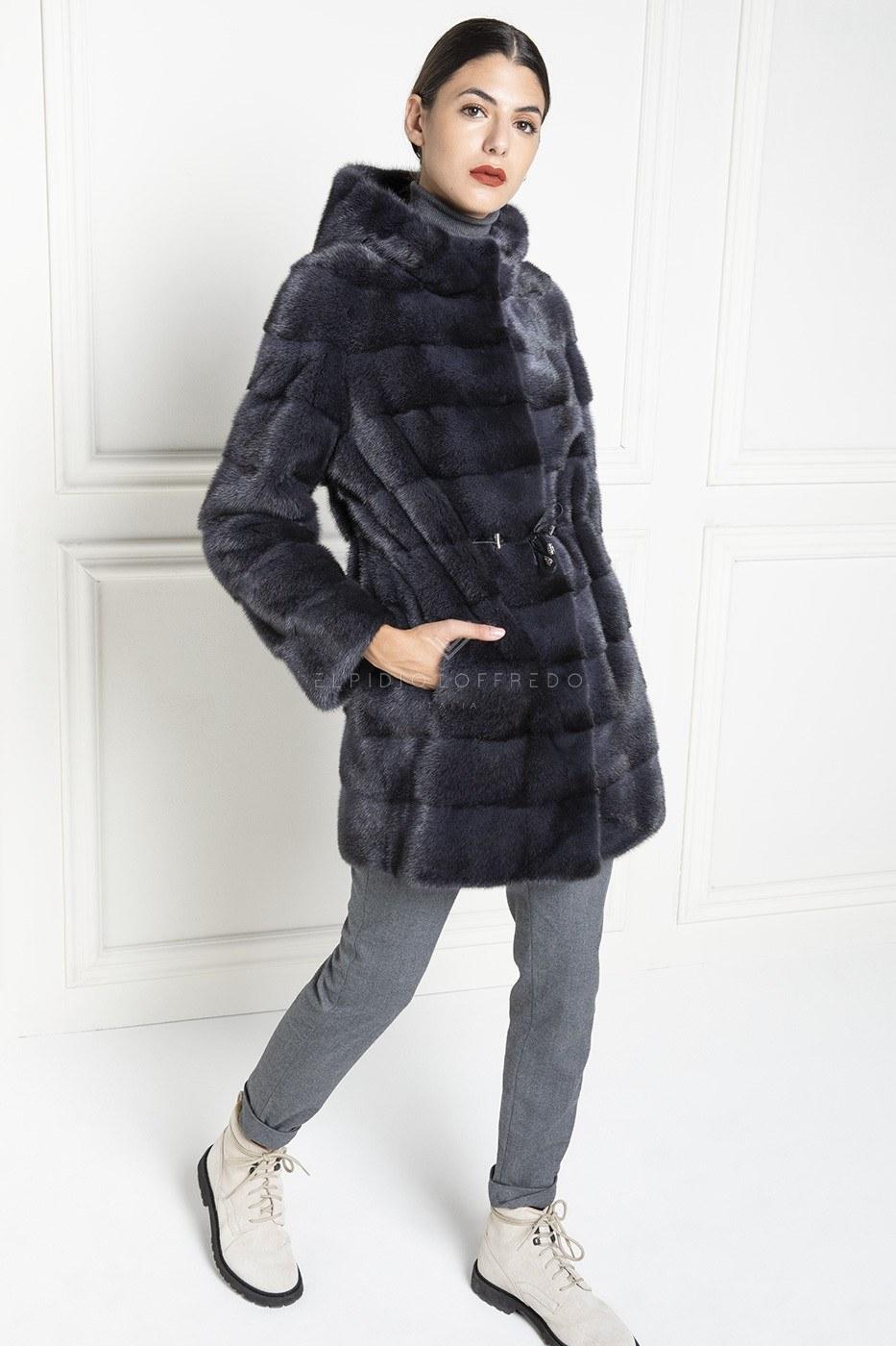 Blue Mink Fur Coat with Hoodie - Length 85 cm