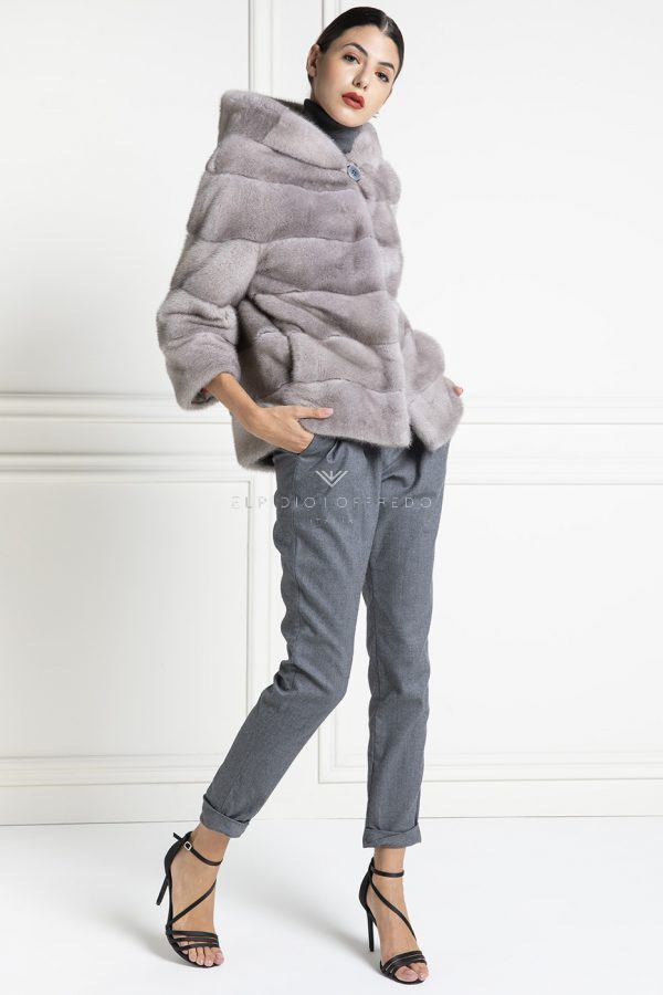 Giacca di Visone Silverblue con Cappuccio - Lunghezza 65 cm
