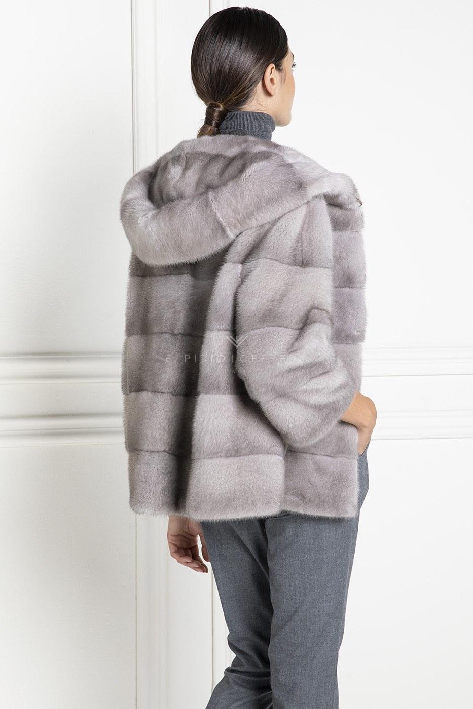 Silverblue Mink Jacket with Hoodie - Length 65 cm