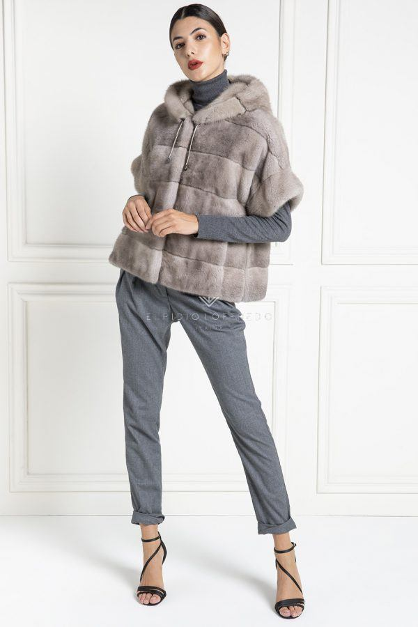 Silverblue Mink Jacket with Hoodie - Length 60 cm