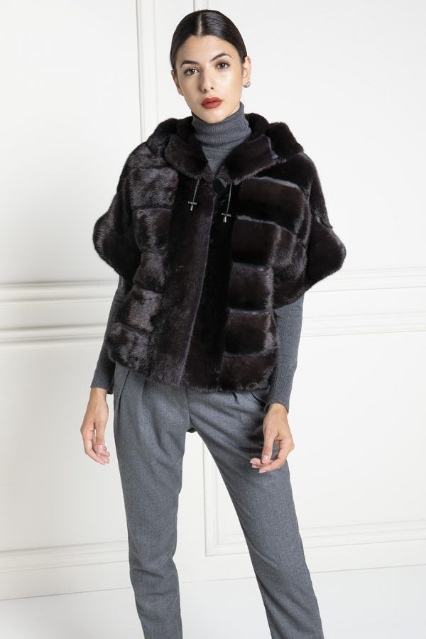 Mink Fur Jacket with Hoodie and 3/4 sleeves - Length 65 cm