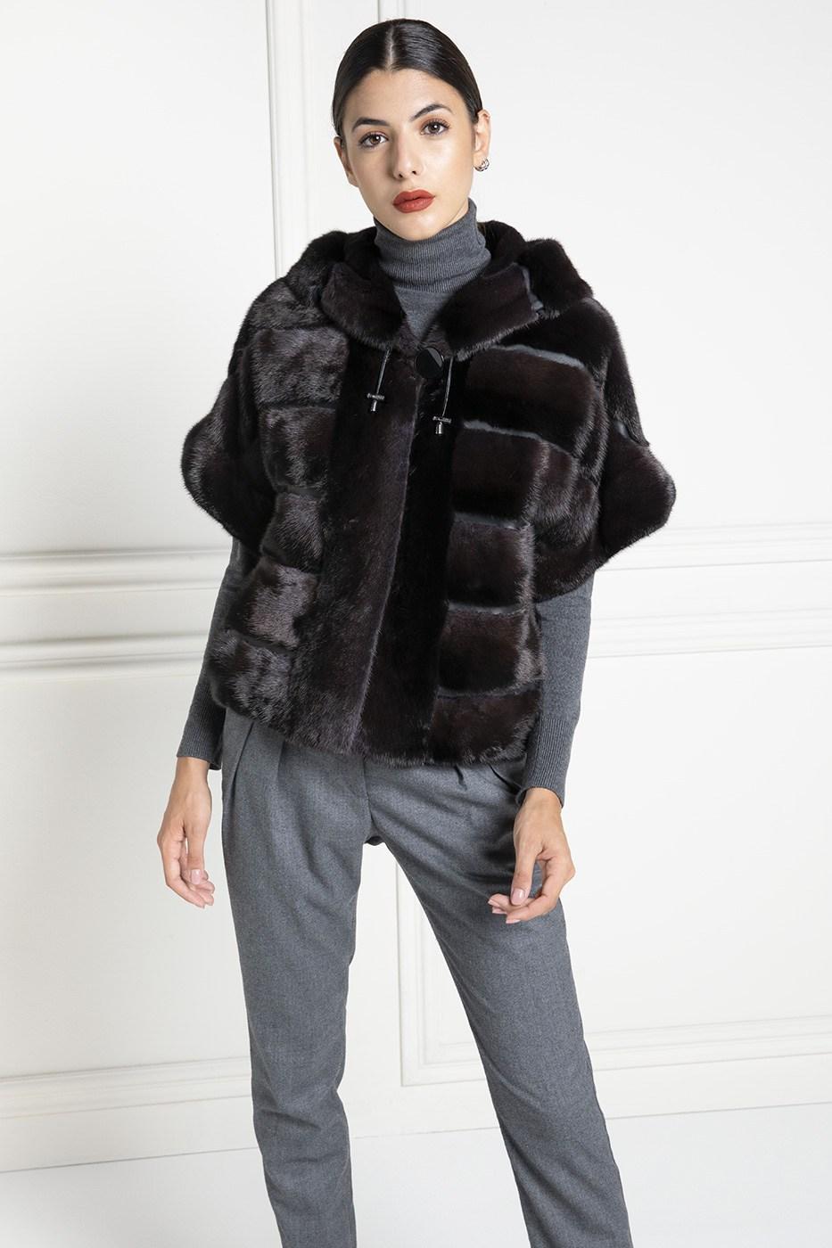 Mink Fur Jacket with Hoodie and 3/4 sleeves - Length 65 cm