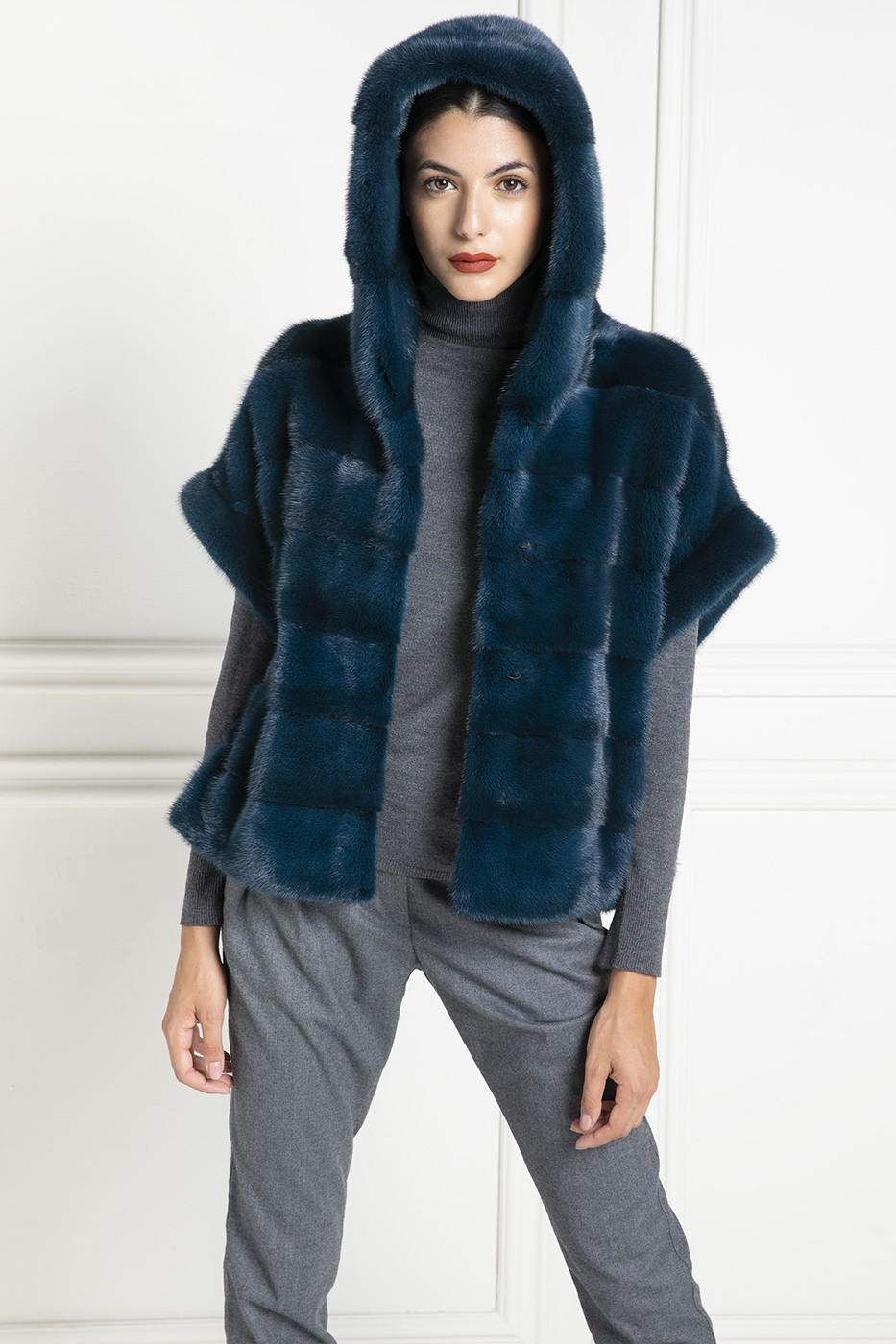 Giacca di pelliccia di Visone con Cappuccio - Lunghezza 65 cm