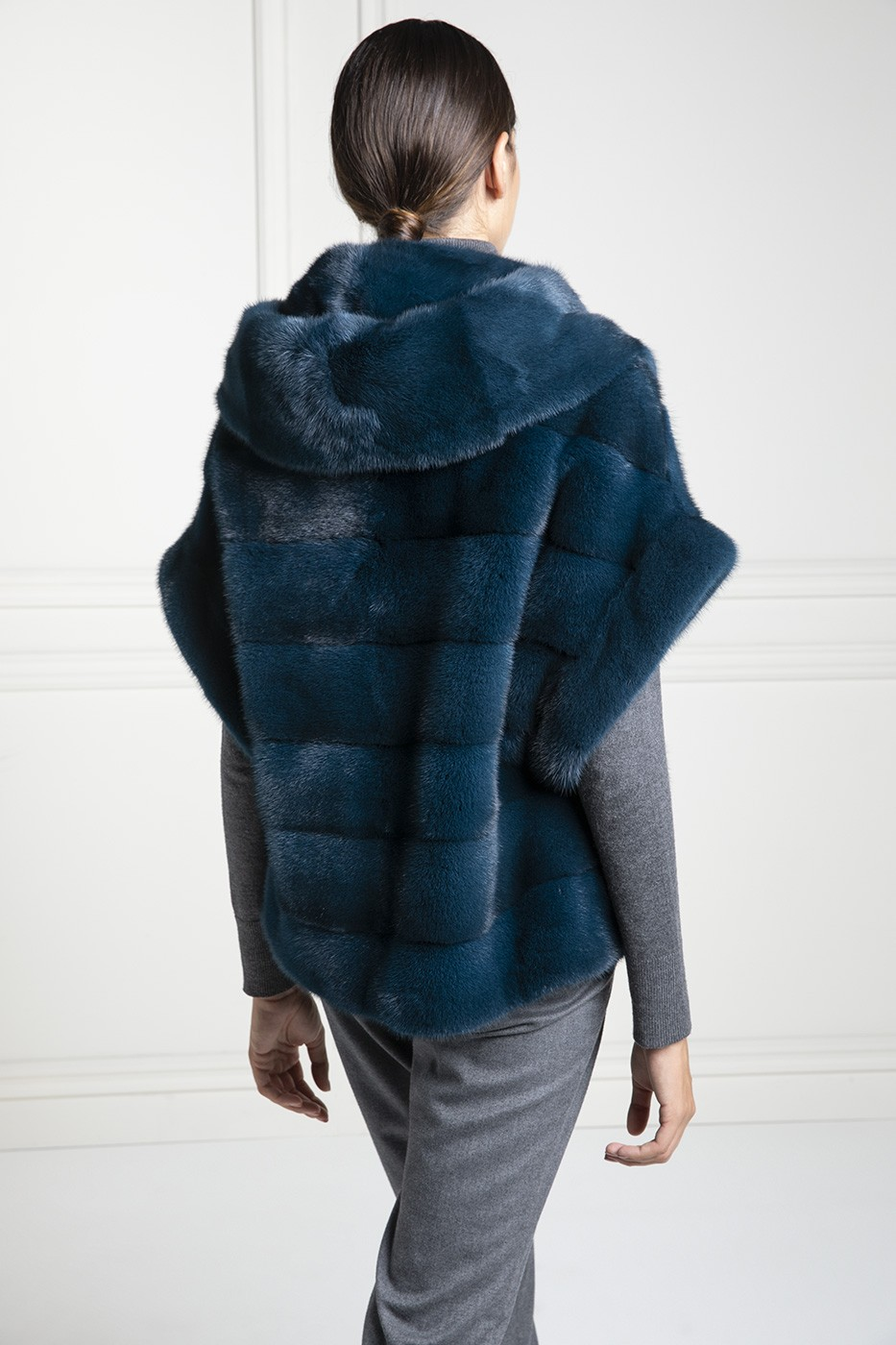 Mink Fur Jacket with Hoodie - Length 65 cm