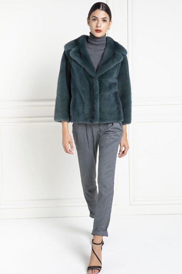 Green Mink Jacket with Shawl Collar - Length 60 cm