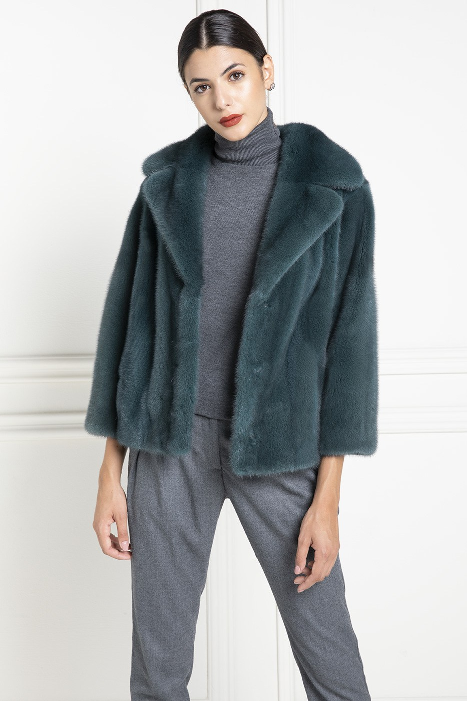 Green Mink Jacket with Shawl Collar - Length 60 cm