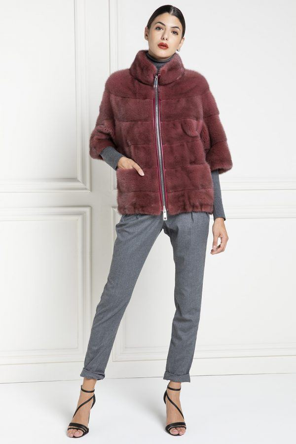 Mink Jacket with Zip and Round Collar - Length 65 cm