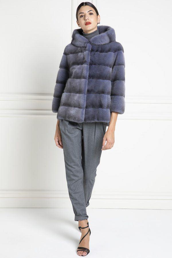 Giacca di Visone Blue Jeans con Cappuccio - Lunghezza 65 cm