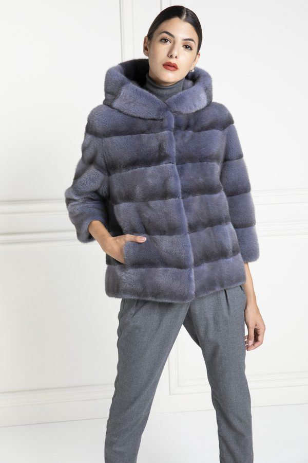 Blue Mink Fur Jacket with Hoodie - Length 65 cm