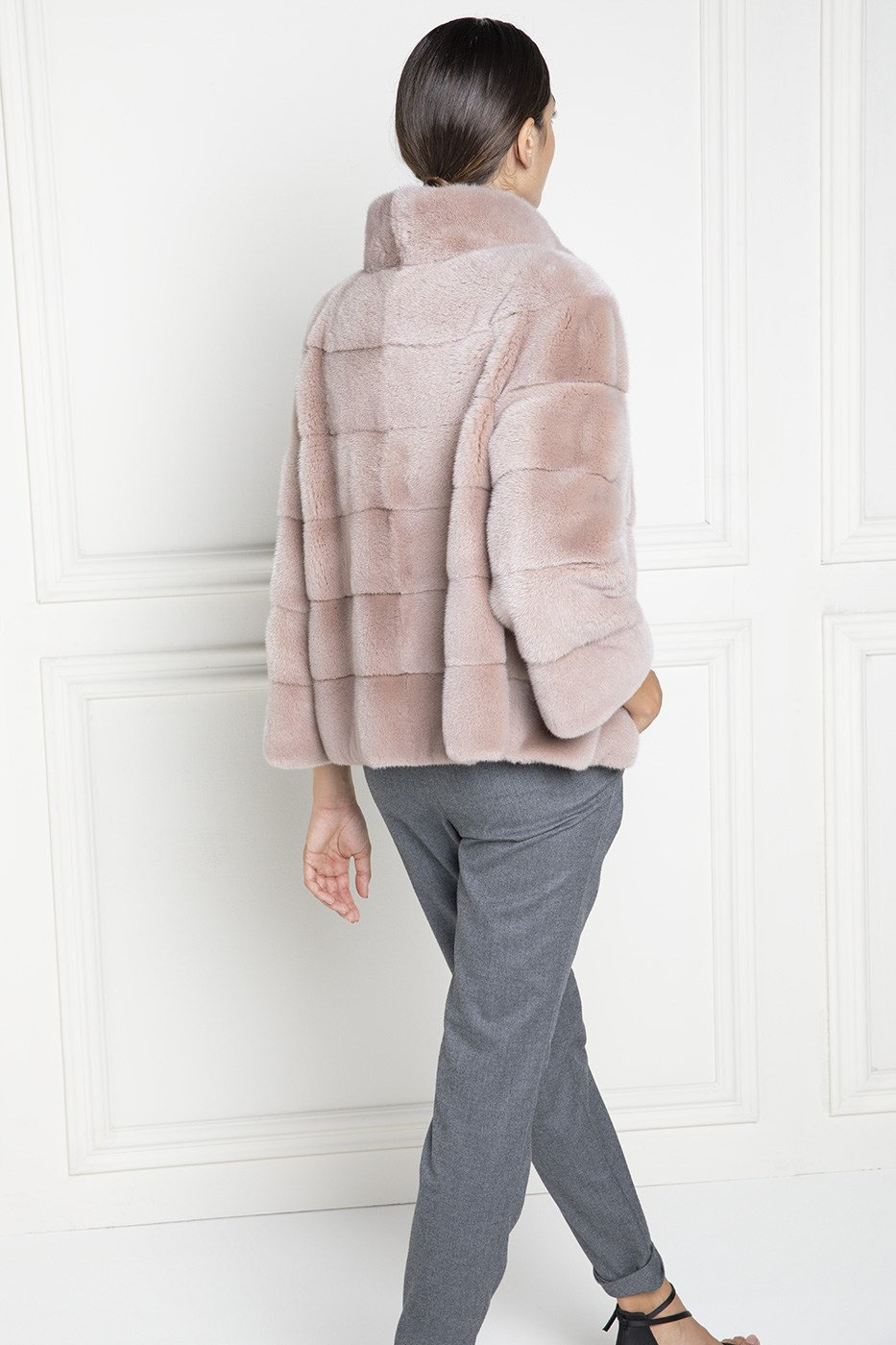 Pink Mink Jacket with Round Collar - Length 65 cm