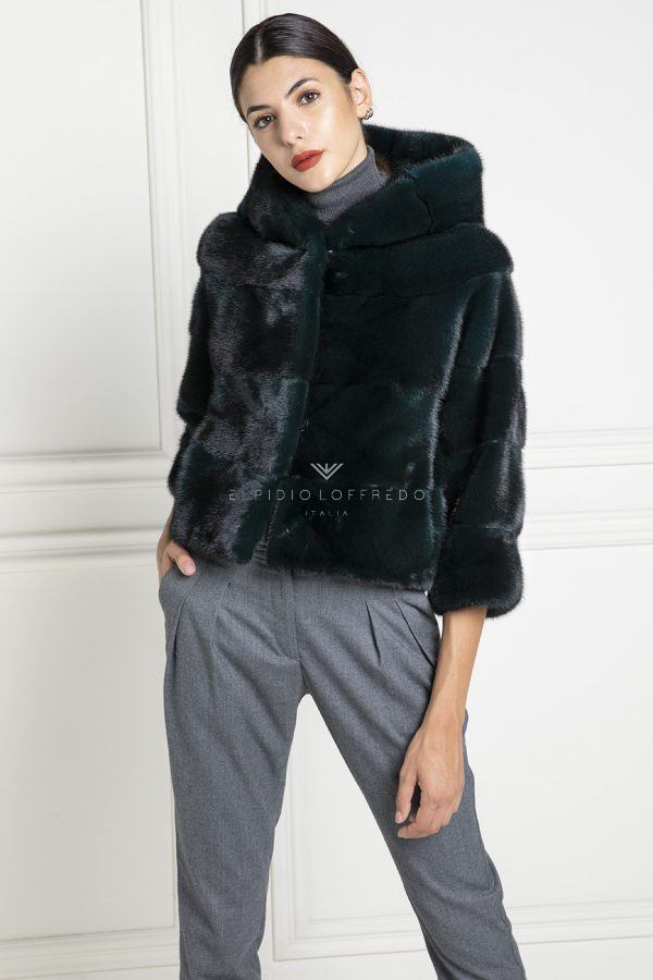 Green Mink Jacket with Hoodie - Length 50 cm
