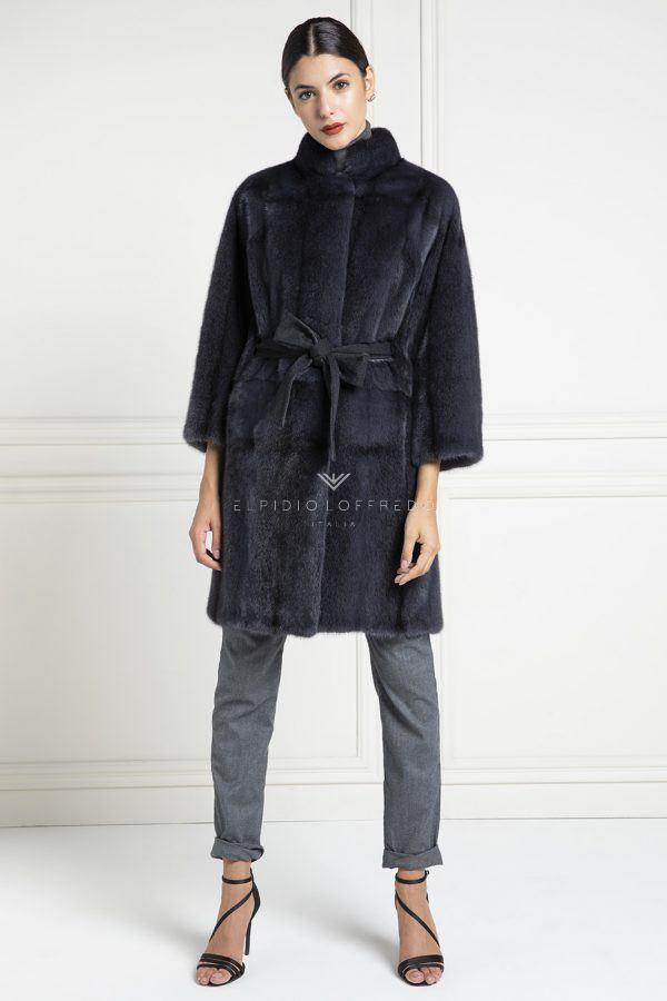 Cappotto di Visone con collo rotondo - Lunghezza 95 cm