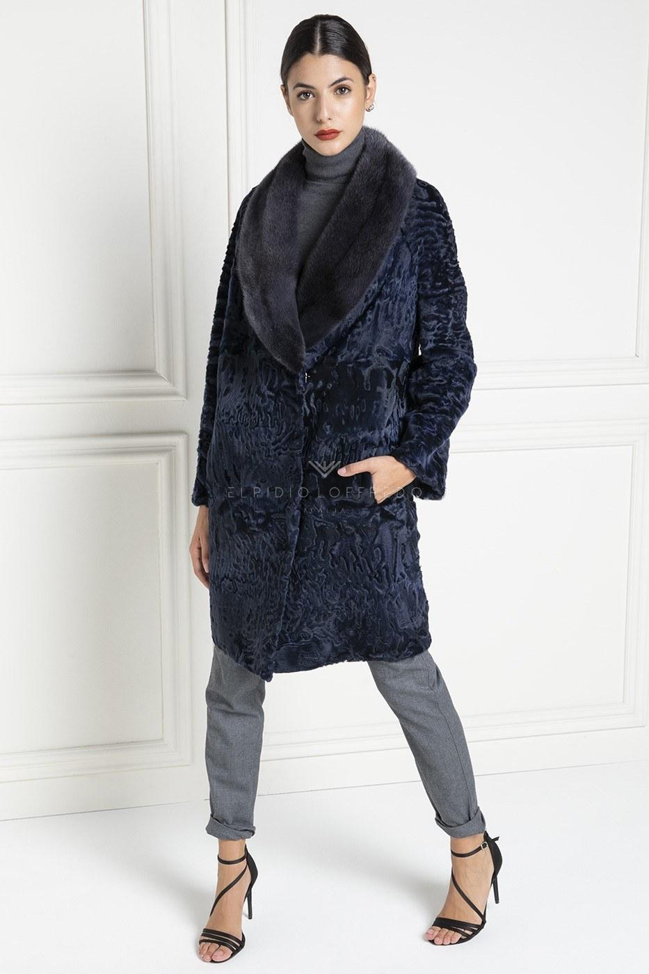 Cappotto di Pelliccia diSwakara Blue con Visone - Lunghezza 90 cm