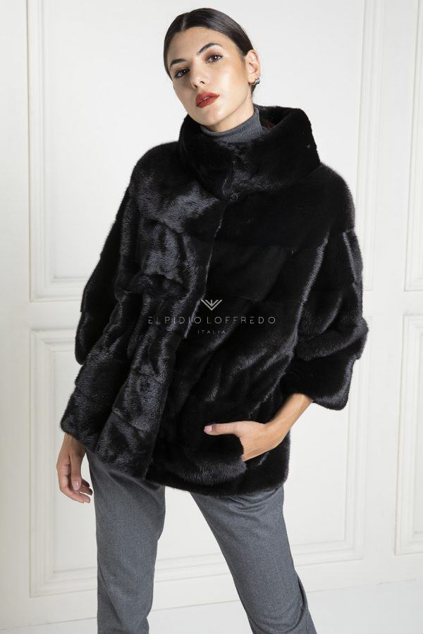 Black Mink Jacket with Round Collar - Length 65 cm