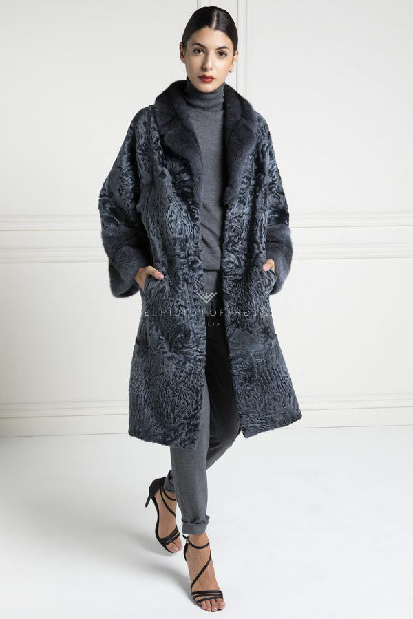 Grey Swakara Coat with Mink Fur - Length 100 cm