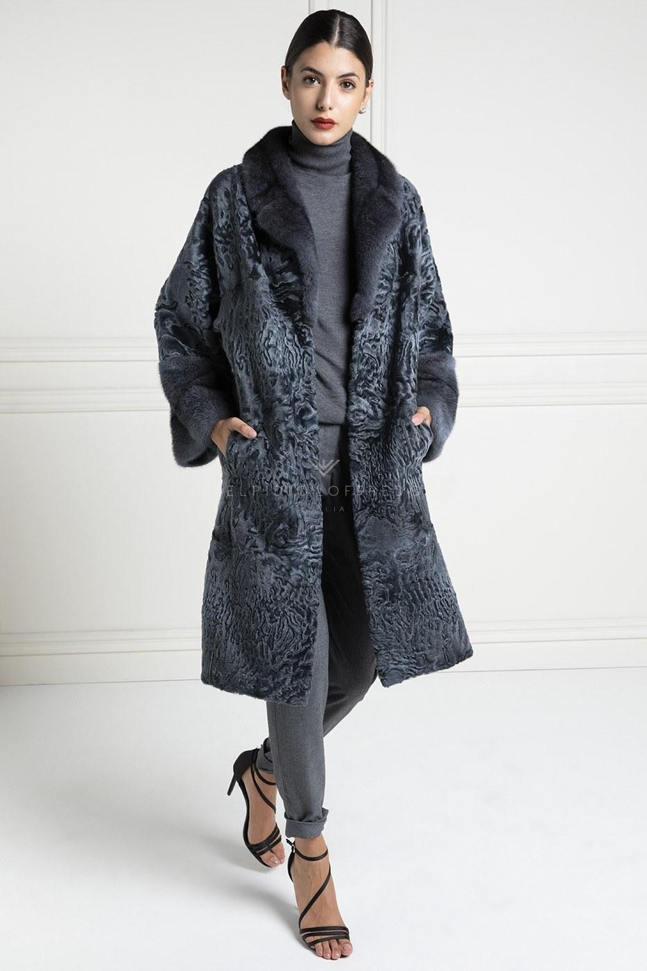 Grey Swakara Coat with Mink Fur - Length 100 cm