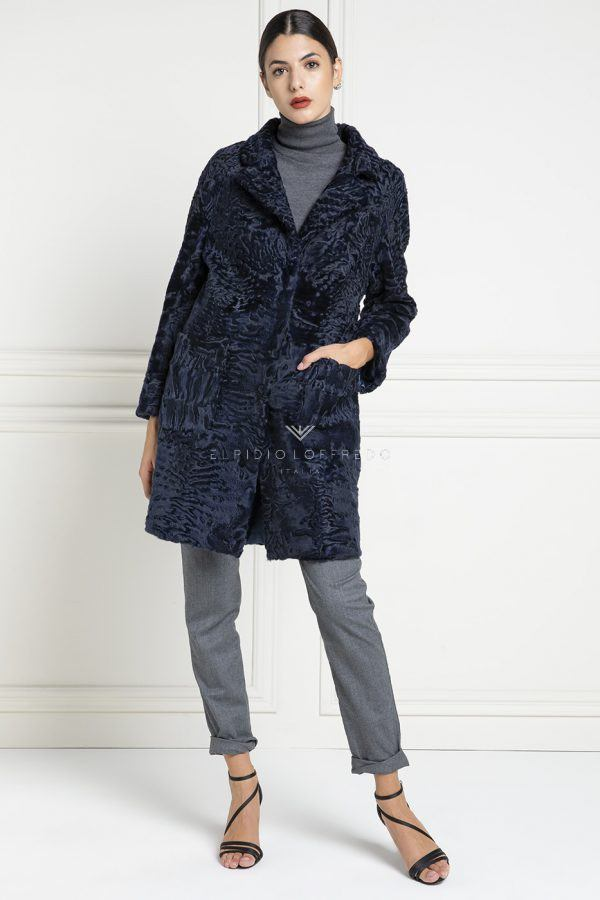 Blue Swakara Coat - Length 90 cm